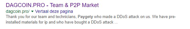 Dagcoin.pro DDOS aanval door paygety
